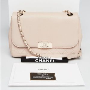 CHANEL Champagne Grained Quilted Leather  Flap Bag